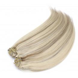 Clip in maxi set 53cm pravé lidské vlasy – REMY 200g – PLATINA/SVĚTLE HNĚDÁ