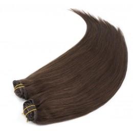 Clip in maxi set 63cm pravé lidské vlasy – REMY 240g – TMAVĚ HNĚDÁ
