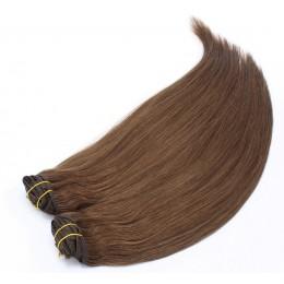 Clip in maxi set 63cm pravé lidské vlasy – REMY 240g – STŘEDNĚ HNĚDÁ